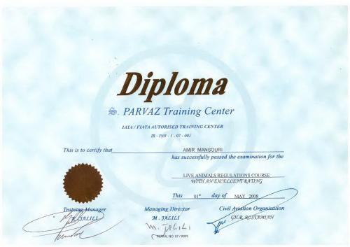 PARVAZ TRAINING CENTER DIPLOMA 01TH